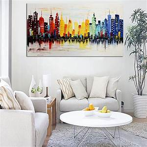 120x60cm modern city canvas abstract painting print living With modern living room wall decor