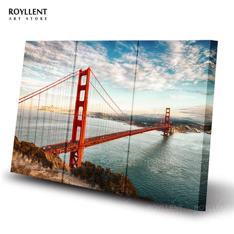 golden gate bridge picture modern wall canvas painting for living room unframed decorative