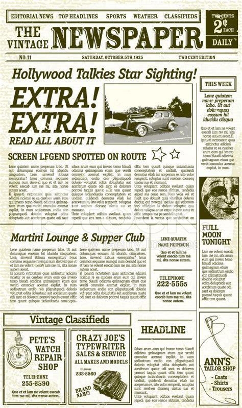 vintage newspaper layout design  antique elements