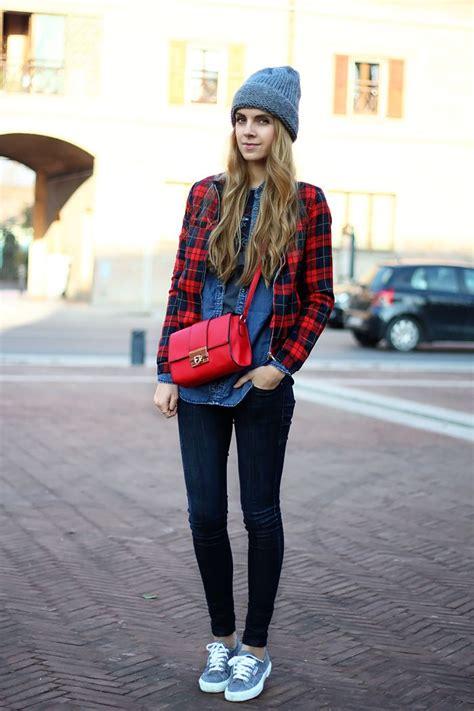 Denim on denim tartan bomber jacket oversized beanie superga sneakers red crossbody bag ...