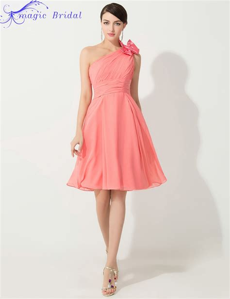 coral colored bridesmaid dresses cheap one shoulder coral colored bridesmaid dresses knee