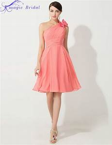 cheap one shoulder coral colored bridesmaid dresses knee With wedding dresses with coral color