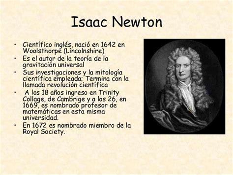 Isaac Newton Resumen De Su Vida by Trabajo De Ley De La Gravitaci 243 N Universal De Newton