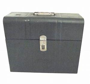 Vintage metal file storage box in green for Metal document storage boxes