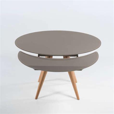 table ronde moderne en verre et bois avec allonges demi lune myles 4 pieds