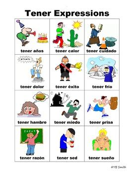 Spanish Tener Expressions Picture Notes Set By Spanish