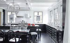 20 black and white kitchen design decor ideas for Kitchen colors with white cabinets with nyc skyline wall art