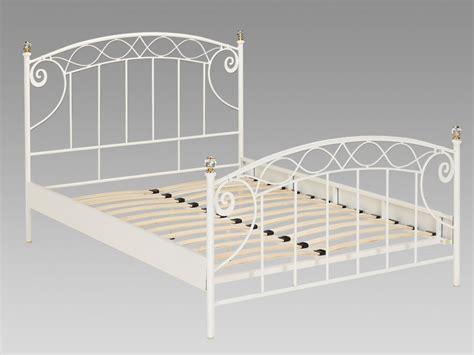 canapé lit blanc lit 140x190 cm en fer margot avec sommier style romantique