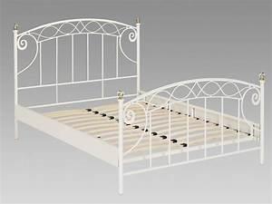 Lit En Metal 140x190 : lit 140x190 cm en fer margot avec sommier style romantique ~ Teatrodelosmanantiales.com Idées de Décoration