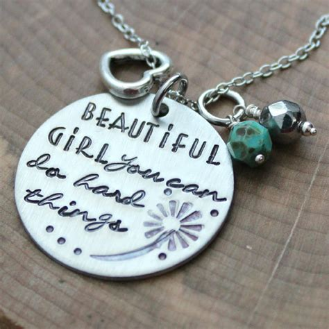 Beautiful Girl Inspirational Quote Necklace, You Can Do