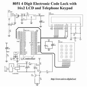 8051 4 Digit Electronic Code Lock With Lcd And Keypad
