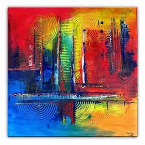 Gemälde Verkaufen Online : farbenspiel wandbild abstrakt blau gelb rot acrylbild ~ A.2002-acura-tl-radio.info Haus und Dekorationen