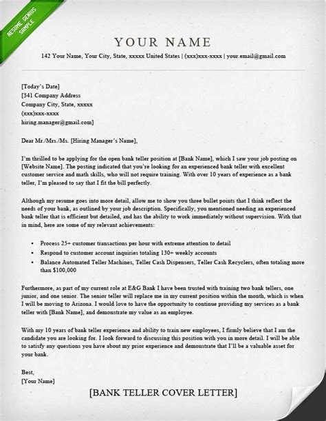 Bank Teller Resume Cover Letter Template by Bank Teller Cover Letter Sle Resume Genius