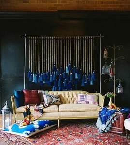 Mur Bleu Pétrole : d co id e peinture mur bleu p trole canap style baroque une d coration indigo couleur et ~ Melissatoandfro.com Idées de Décoration