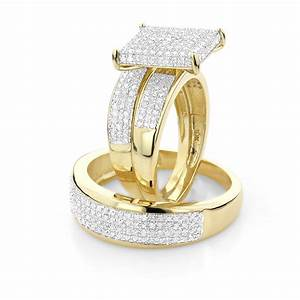 Affordable trio ring setsdiamond wedding ring set 125ct for Wedding ring trio set