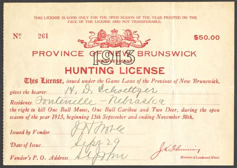 hunting 1913 license brunswick fishing resident non licenses scrapbook early issue date issued september shorty