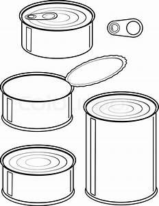 Set Dosen - Konserven - isolierte Darstellung schwarz auf ...