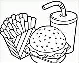 Coloring Pages Hamburger French Fries Printable Everfreecoloring sketch template