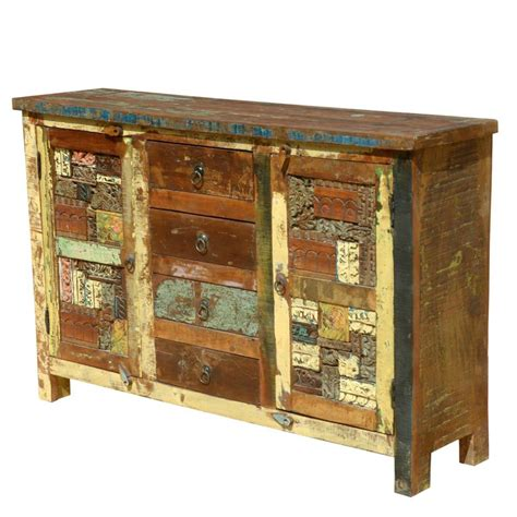 Rustic Sideboards by Reclaimed Wooden Mosaic Rustic Sideboard Buffet Cabinet