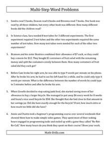 Easy Multi-Step Word Problem Worksheets