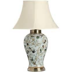 Blue birds ceramic table lamp for Ceramic table lamps