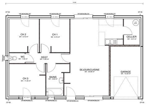 plan maison 2 chambres luxe plan de maison plain pied 2 chambres ravizh com