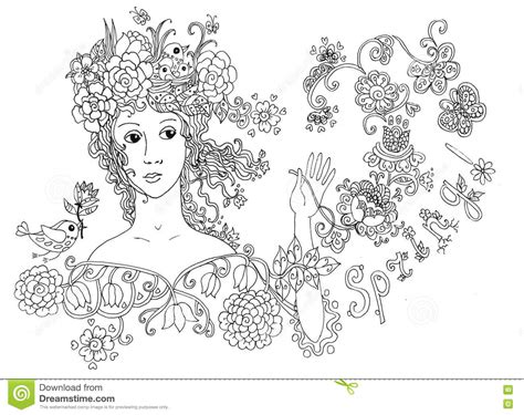 Lady Spring. Hand Drawn Cute Face. Stock Illustration