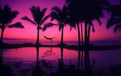 Sunset Purple Beach Pink Ocean Wallpapers Backgrounds