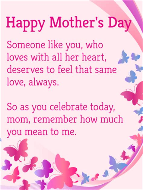 pink butterfly happy mothers day card birthday