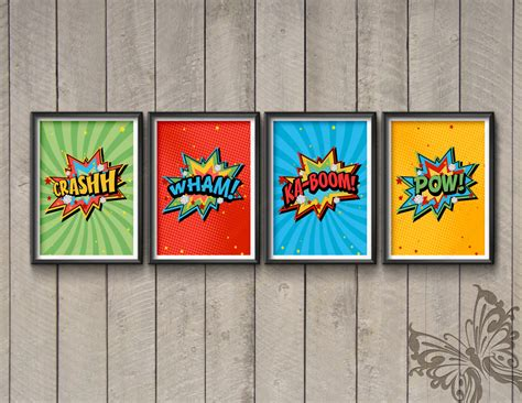 superhero comic wall art prints crash wham ka boom