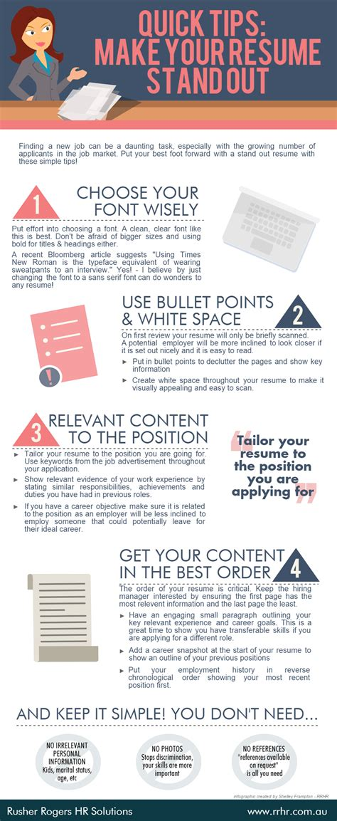 Tips For Building Your Resume by Tips Make Your Resume Stand Out Infographic Rusher Rogers