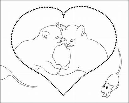 Coloring Pages Cat Mouse Cats Cuddling Valentine