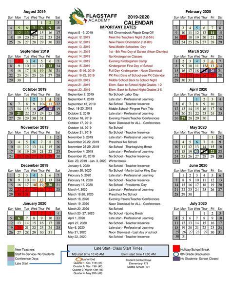 academic calendar grade levels academics flagstaff academy