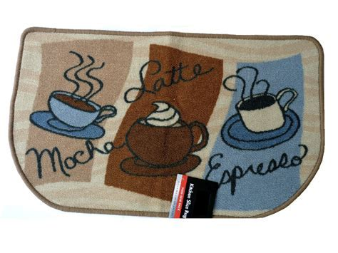 Mocha Latte Espresso Kitchen Rug Coffee Cups Mat