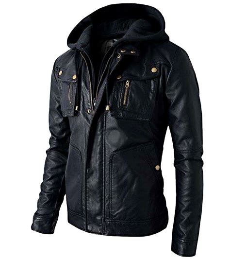 men brando style biker leather hooded jacket famejackets