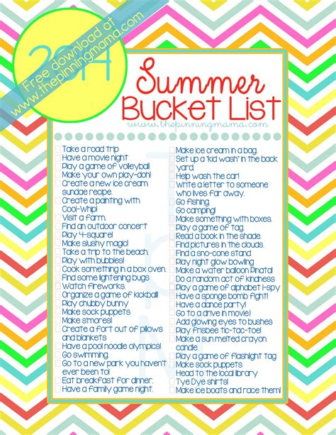 summer ideas 2014 summer bucket list 50 ideas activities for kids family the pinning mama