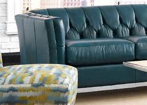 custom turquoise leather sofa button tufted