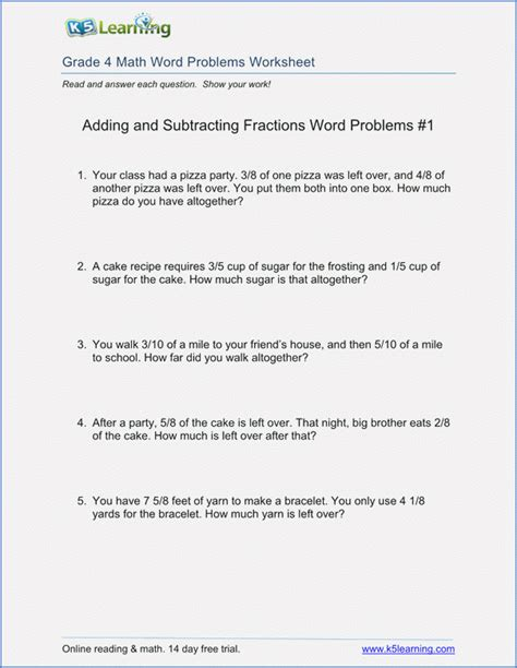 fraction story problems 4th grade dailypoll co