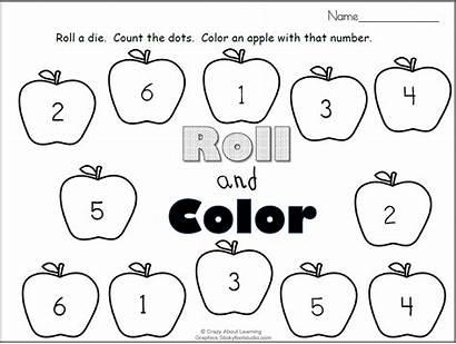 Roll Apples Fall Printable Numbers Preschool Madebyteachers