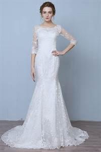 elegant three quarter sleeve floor length train lace With 3 quarter length wedding dresses
