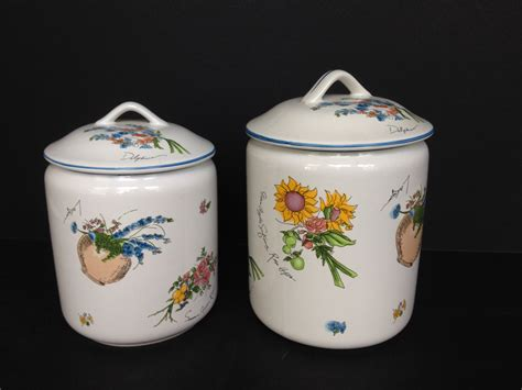 canisters kitchen decor 1990s two white ceramic kitchen canisters w fruit