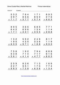 Restas de números de tres cifras sin llevada 1000 fichas ...