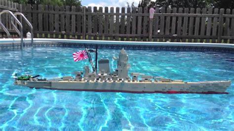 lego ship sinking in pool lego battleship yamato model sinking