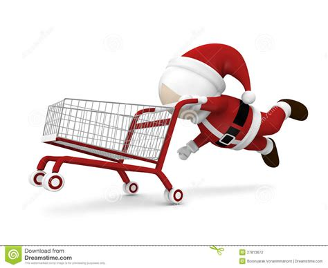 santa claus and shopping cart stock photography image