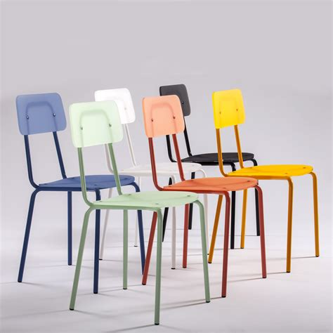 Sedia colorata di design in metacrilato e metallo Moodern
