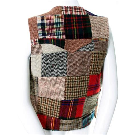 ralph tartan plaid wool patchwork vest antler buttons early 1980s 8 10 at 1stdibs
