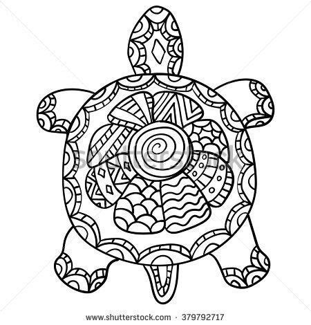 stock vector coloring page  adult drawing zentangle turtle shirt design effect logo tattoo