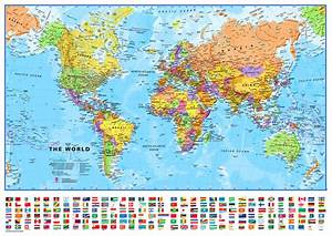 Small Printable World Map | Europe Centred Maps ...
