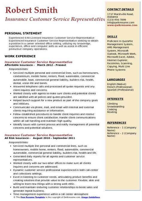 insurance customer service representative resume sles