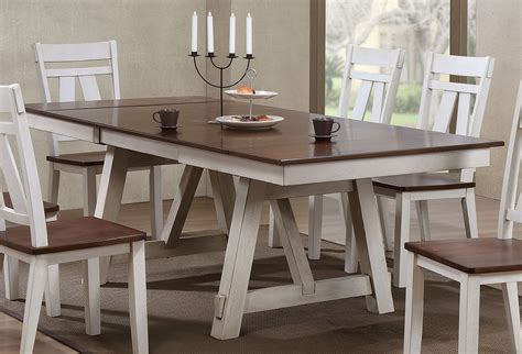 winslow rectangular dining table  white rustic cherry